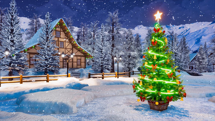 Wall Mural - Outdoor Christmas tree decorated by lights garland against cozy alpine rural house and snow covered fir trees on background at snowfall winter night. Festive 3D illustration.