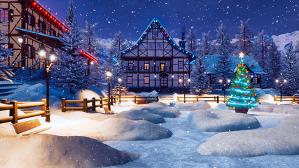 Wall Mural - Outdoor decorated Christmas tree on snowbound square of illuminated alpine village high in snowy mountains at snowfall winter night. With no people festive 3D illustration.
