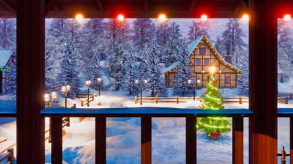 Wall Mural - Magical Christmas night in snow covered european village with illuminated half-timbered house and decorated Xmas tree on snowbound square. View from terrace 3D illustration.