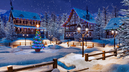 Wall Mural - Peaceful winter scenery - snow covered alpine village high in mountains with illuminated half-timbered houses and decorated Christmas tree at snowfall night. 3D illustration.