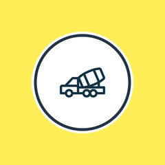 Vector illustration of construction car icon line. Beautiful vehicle element also can be used as concrete mixer icon element.
