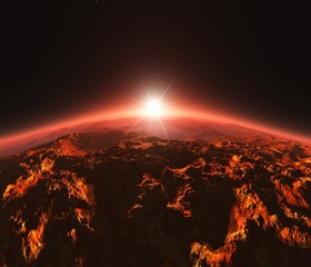 Mars at sunrise, star above the surface of the red planet,