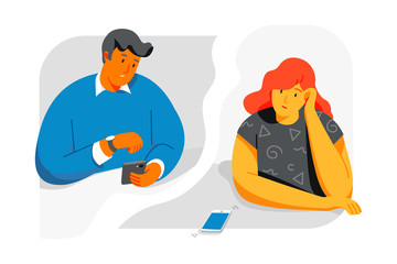 Man and woman look at the phone and wait for a call from each other. flat style design vector illustrations. Eps 10
