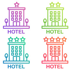 Hotel icon isolated. Simple vector Hostel line gradient color pictogram.