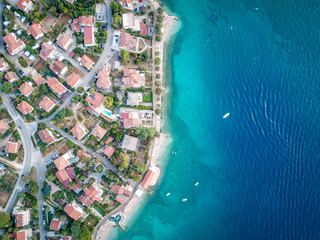 Krk island, Croatia, aerial view from above. Red roofs and Adriatic sea