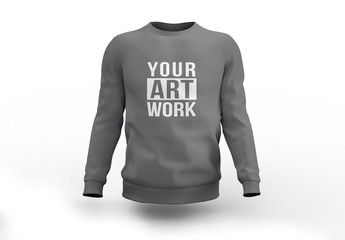 Gray Crew Neck Sweatshirt Mockup