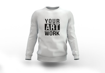 White Crew Neck Sweatshirt Mockup
