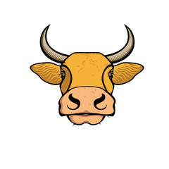 Vector of a red cow head design on white background. Farm Animal. Easy editable layered vector illustration.