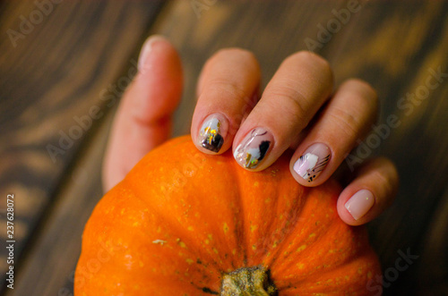 Creative nail design. Beautiful female hands with extraordinary ...