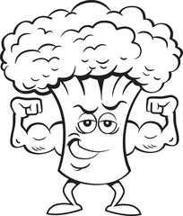 Black and white illustration of a broccoli flexing his muscles.