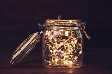Yellow garland in jar