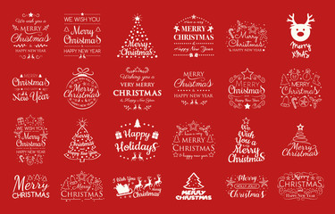 Collection of Christmas typography with decorations. Vector.
