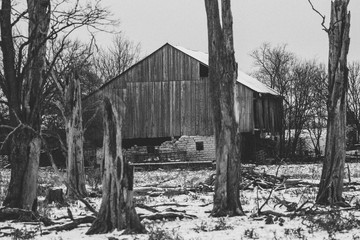 Country barn in the winter