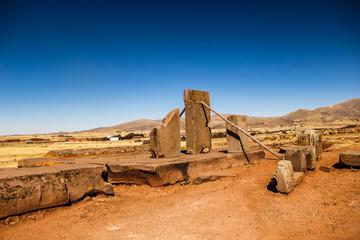 Ancient city, Tiahuanacu, Puma Punku, Tiwanaku, Bolivia.