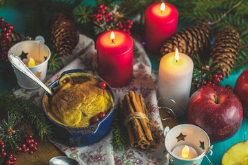 Christmas and New Year composition with sweet delicious apples dessert