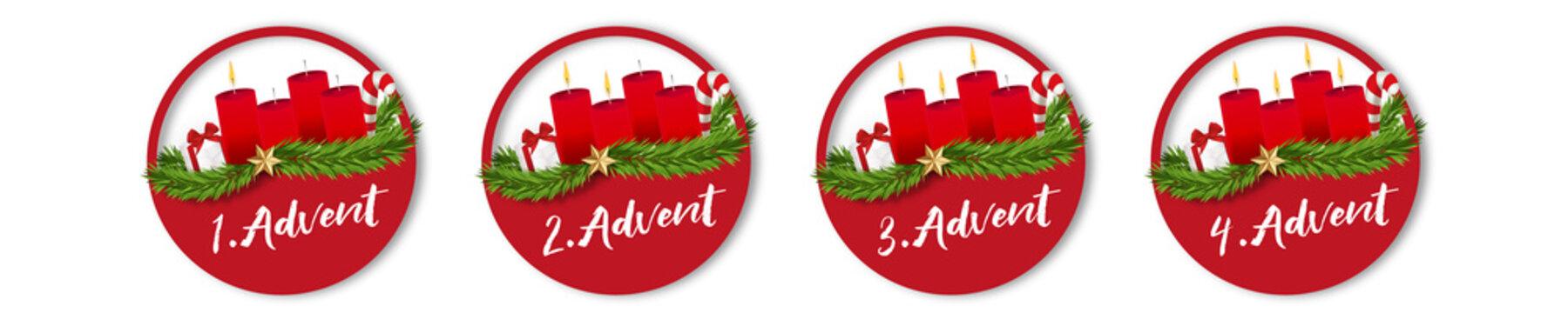 Advent Sticker Kerzen Adventskranz Buttons rot Geschenk