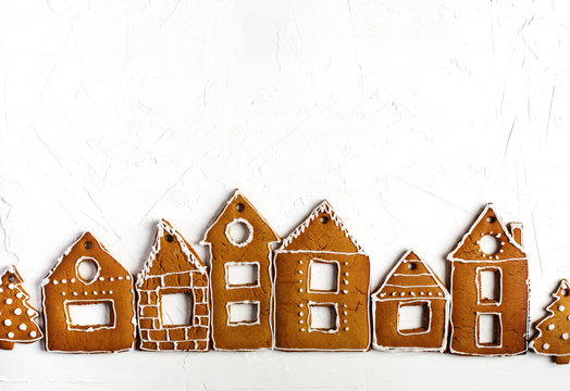 Christmas gingerbread houses.  Christmas background with gingerbread cookies.