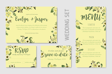 Wedding invite, invitation menu rsvp thank you card vector floral. Forest leaf, fern, branches, buxus, eucalyptus. Flowers of white lily, gerbera, dahliaer