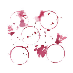 Set of wine glass stain circle and drops, transparent backdrop, design elements