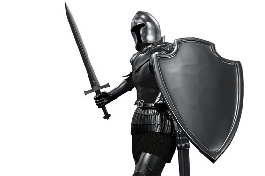 knight in armor with sword on white background