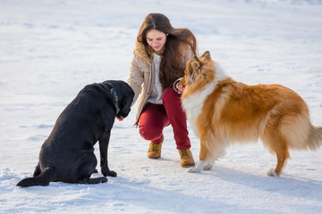 girl playing with two dogs on winter snow field