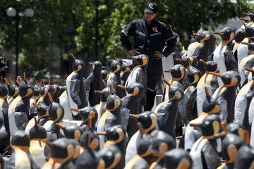 Man stands among recycled-materials penguin sculptures in Santiago