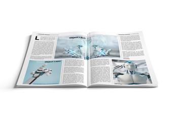 Open Magazine on White Surface Mockup