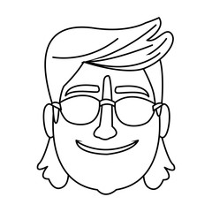 Man smiling with sunglasses in black and white