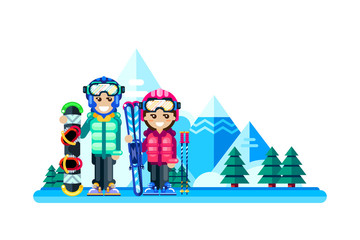 Happy couple at winter ski resort, vector flat isolated illustration. Weekend travel in mountains, leisure outdoor concept