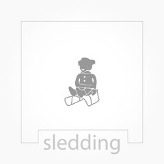 sledding icon. silhouette of a man riding a sleigh icon.