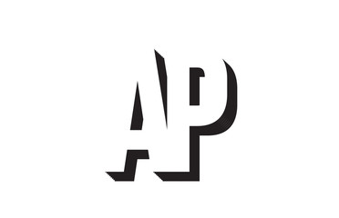 black and white ap a p alphabet letter logo combination icon design