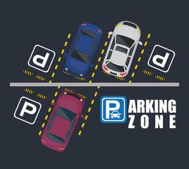parking zone air view scene