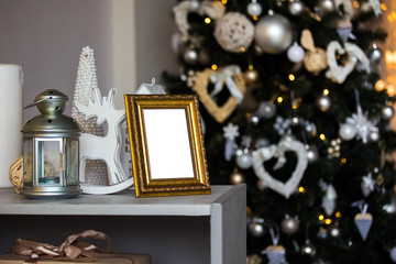 Empty photo frame in christmas interior background, blank mockup template