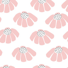 Vector flowers seamless repeating background. Scattered florals pattern. Flat pink simple doodle flowers on white. Scandinavian style. For fabric, girl, nursery, baby shower, packaging, digital paper