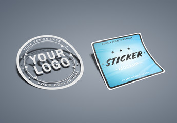 Multi-Shape Sticker Mockup