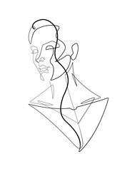 Deurstickers One Line Art Female Figure Continuous Vector Line Graphic V
