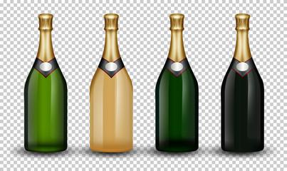Set of champagne bottle
