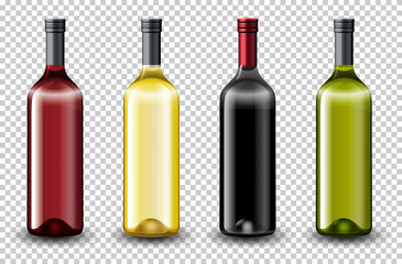 Set of different wine bottle