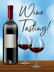 Wine tasting on blue background