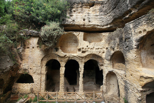 Besikli Cave tomb monument in Antakya (Hatay) Turkey. In tombs, 12 rock tombs are found which belongs to Roman.