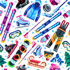 Winter seamless pattern. Colorful sports equipment, clothes and a