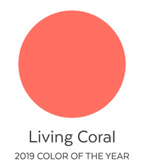Living Coral Color Swatch  - 2019 Color of the Year. Future Color Trend Forecast. Palette Sample. Round Disk Design.
