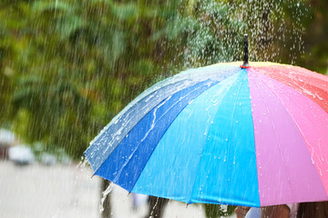 Wall Mural - Person with bright umbrella under rain on street, closeup