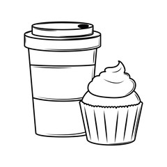 Coffee cup and cupcake black and white