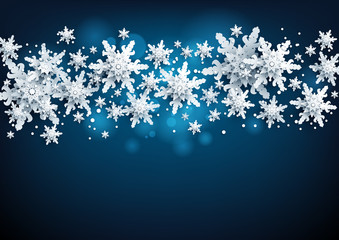 Fotomurales - Realistic snowflakes Banner with place for text template. Paper cut snow decoration nature background.