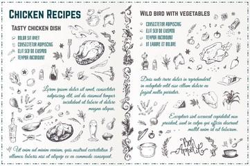 Chicken recipes. Vintage hand drawn vector