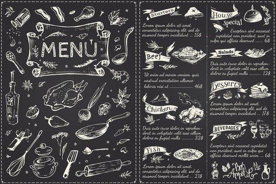 Vintage menu main page design. Hand drawn vector