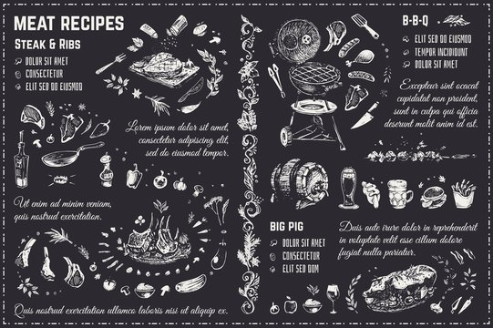 Meat dishes recipes. Chalk drawing vector design