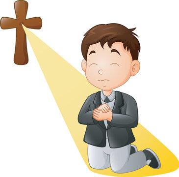 Cartoon little boy kneeling while praying