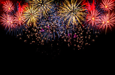 Colorful fireworks festival happy new year
